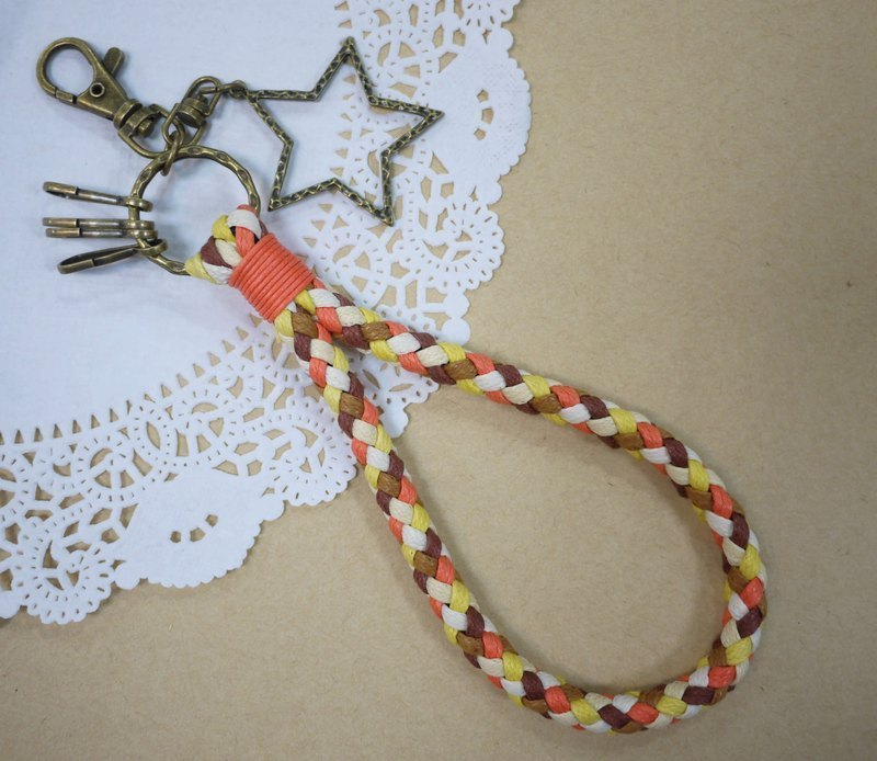 ~ M + Bear ~ vintage braided wire braided wax keychain key ring (orange)