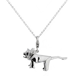 Origami domineering little fairy Lion Silver Necklace