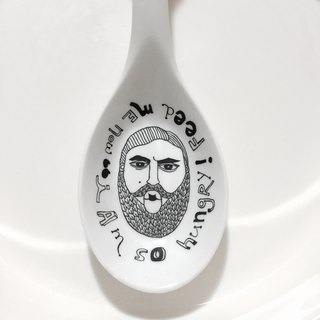 6003 | I was hungry Feed Me Now | hand-painted ceramic spoon | painted porcelain spoon spoon