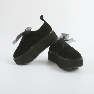 Black leather belt shoes high shoes rose - imakokoni