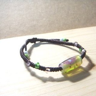 Grapefruit forest hand-glazed - Jiji avoid evil glass double color bracelet (lake green + purple)