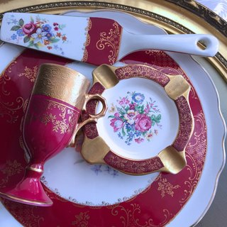 ♥ ♥ Annie crazy Antiquities British bone china 1950 Palissy 24K red gold rose gold flower bone china ashtray, ashtray ~