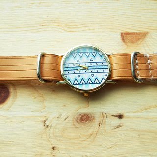 Handmade vegetable tanned leather strap with blue graph bars form the core