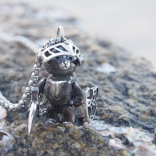 Shabon Lee silver designer toy jewellery figure - Bear Alliance - Dark Knight Bear with armor, sword, and shield. Exclusive 925 sterling silver action figure necklace pendant.