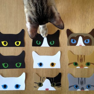 Peeping Cat Sticker Set (includes 9pcs)