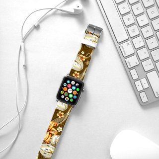 Apple Watch Series 1 , Series 2, Series 3 - Brown Lily Pattern Watch Strap Band for Apple Watch / Apple Watch Sport - 38 mm / 42 mm avilable