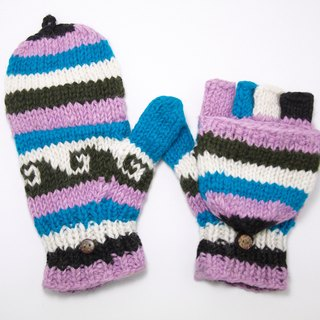 Valentine's Day gift limit a knitted pure wool warm gloves / 2ways Gloves / Toe Gloves / Glove bristles - mixing waves totem