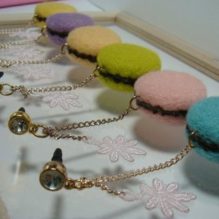 Wool Needle Felt - Macarons Headphones Hole Plug / Bag Hanging Baby Color Sweet Debut~