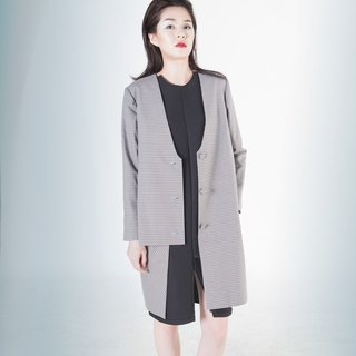 Egeria Collarless Layered Gingham Coat