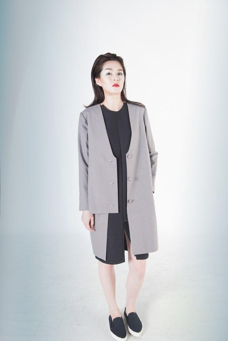 Egeria多層次格紋長版大衣