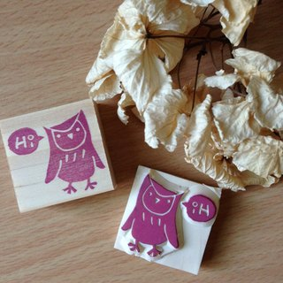 Black Owl SAY Hi! Hand-made rubber stamp
