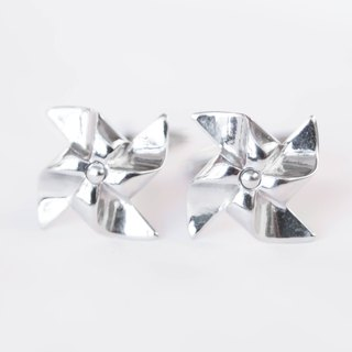 Silver Windmill Cufflinks (rotatable) PINWHEEL CUFFLINKS (MOVABLE)