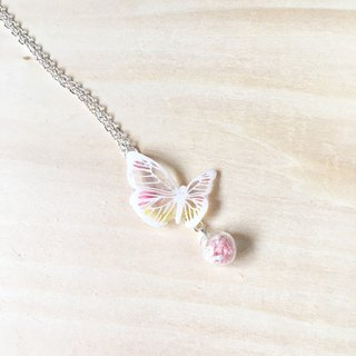 * Haku‧Neko * White pattern pink x yellow hand painted butterfly dried flower glass necklace