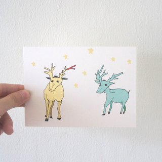 Pink Blue Yellow Stars Fawn Postcards Two Colors