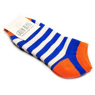 GREEN BLISS Organic Cotton Socks - [Stripe Series] Baobab Orange Blue Stripe Ankle Socks / Socks Socks (Male / Female)