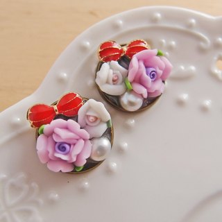 Hear the language of flowers [CR0154] Rose pearl bow earrings ear pin]