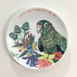 Customized 6-inch parrot hand-painted porcelain plate / Attached stand