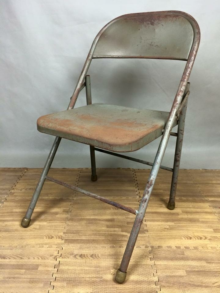 Old Style Antique Goods Industry Iron Chair Folding Chair Folding Chair  Bauhaus Rural Grocery Zakka Pop