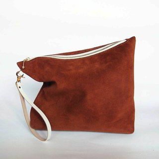 Brown suede leather pouch (small)