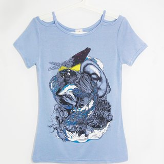 / Valentines Day gift / Women Modal strapless cut shoulder length Blouse / Top design / illustration T-shirt - Ocean Journey
