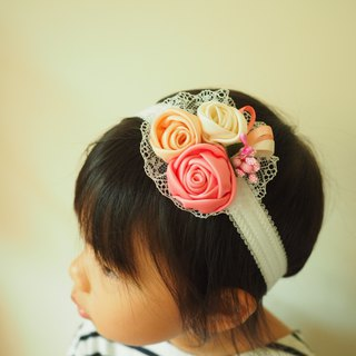 Handmade ribbon rose elastic baby/kid headband