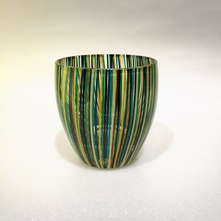 Japanese handmade glass green lacquer lines