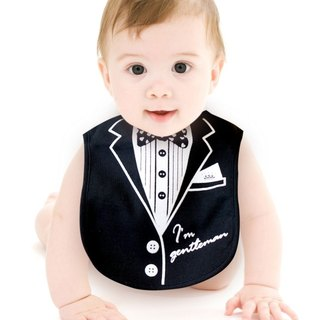 PUREST How to take a handsome little gentleman suit black baby bib / saliva towel