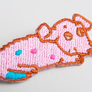 Pink baby puppy embroidered pin patch