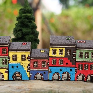 Colorful Village - Hand painted fairy tale small pottery house - red and white arches 5 pieces together