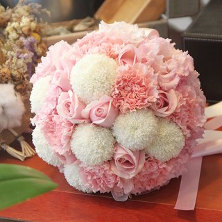 Blooming flowers - [commercial combination] exquisite flower bouquet & brooch white powder B-PK01