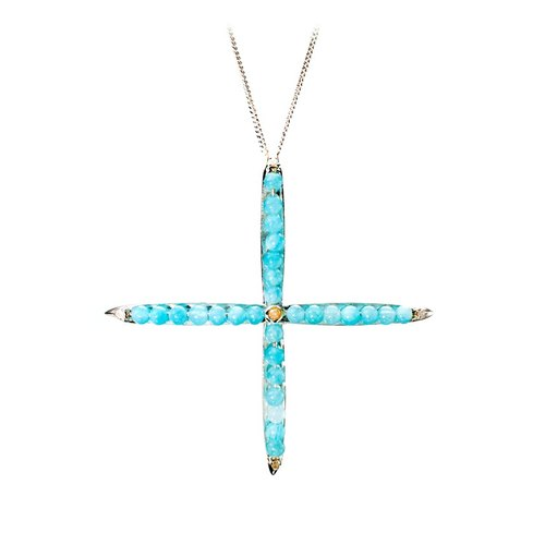 Cool Stylized Large Cross Pendant in 925 Sterling Silver, Amazonite Moissanite