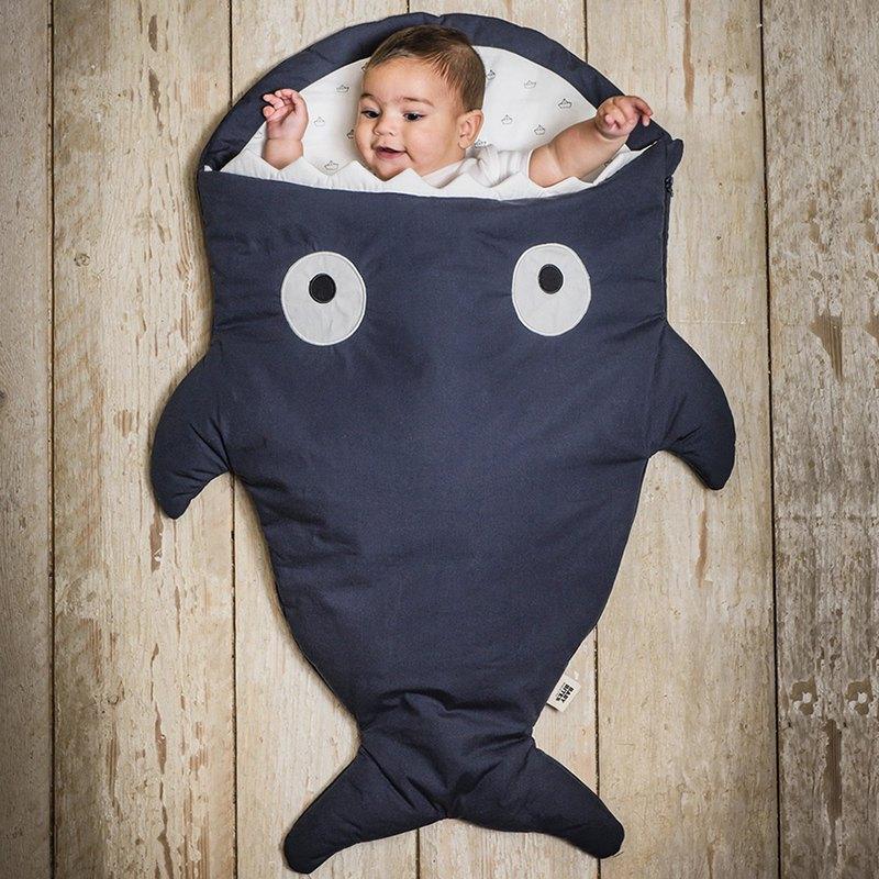 BabyBites鯊魚咬一口純棉嬰幼兒多功能睡袋-丈青藍