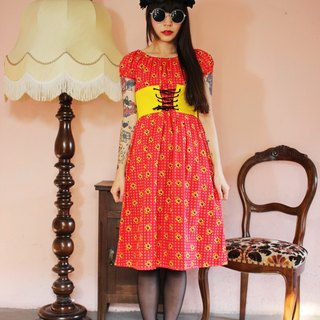 F1117 (Vintage) red floral design ancient century vintage waist strap dress (this piece of partial XS size)