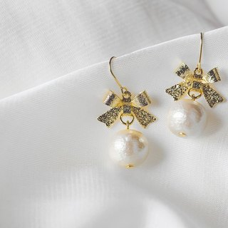 [ Bow - cotton pearl earrings]