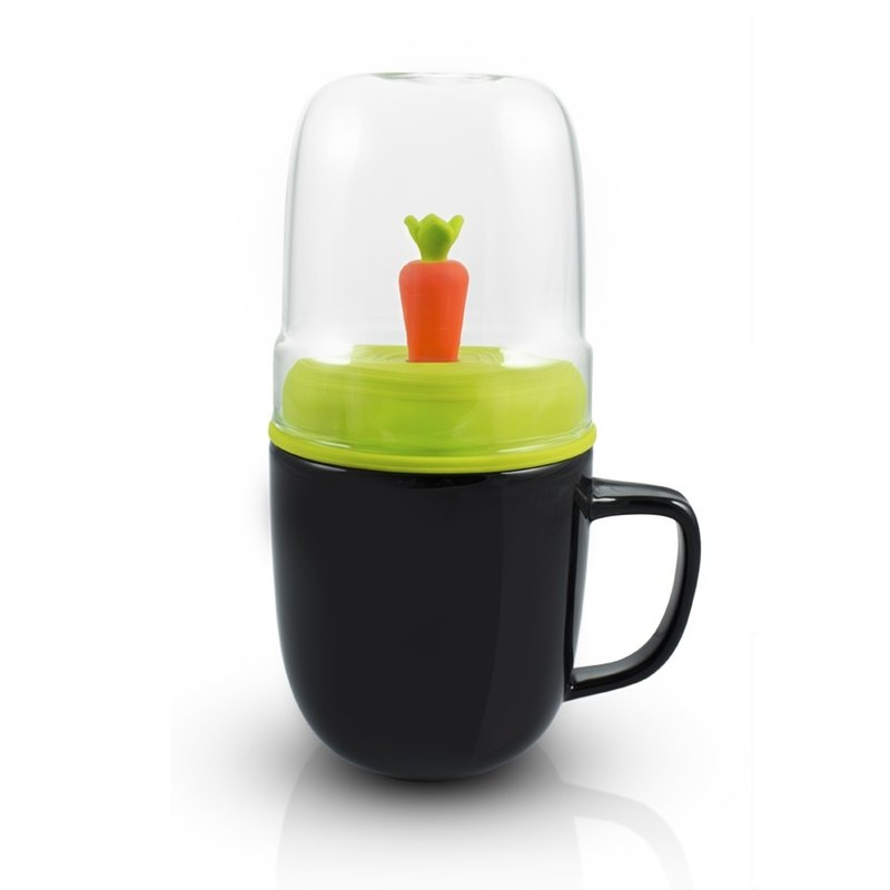 dipper 1 + + double cup group (black cup + green cover + carrot mixing rod)