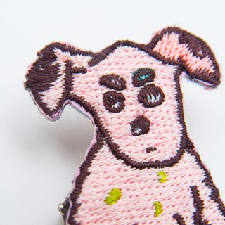 Meeks Small Coffee Dog Embroidery Pin Patch