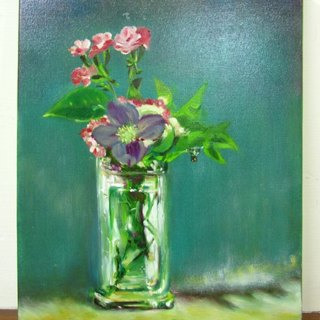 Hand-painted crystal bottle inside painting clematis Clematis in a Crystal Vase