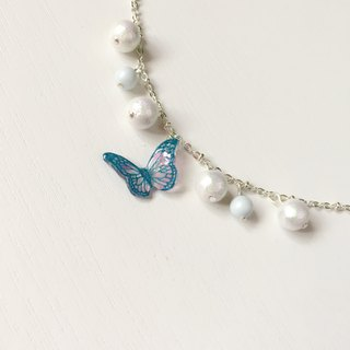 * Haku‧Neko * Flying blue pattern pink hand-painted butterfly cotton bead bracelet