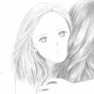 Hug - pencil drawing postcard- ivory paper