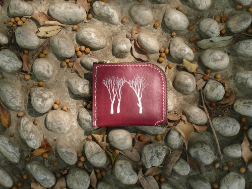 Not hit the snow white forest rouge vegetable tanned leather full leather L-type purse