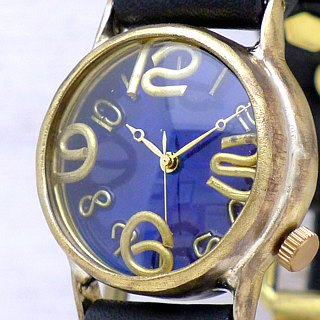 "Handmade watch HandCraftWatch ""On Time-B"" color dial BL / BR [214B]"