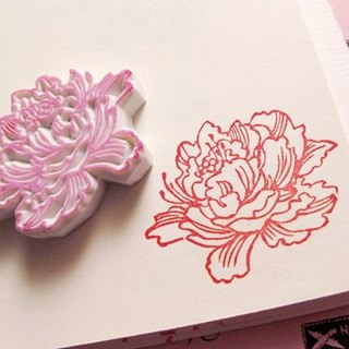 Apu handmade rubber stamps Chinese white painted wind peony seal