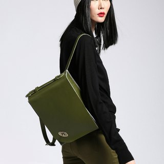 Zemoneni Leather Back pack in Oliver green color