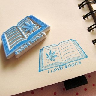 Apu handmade rubber stamp I LOVE BOOKS collection of books