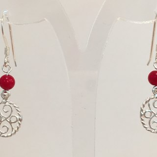 E0324 - own design and manufacture - fashion generous gift of choice - natural stones - red coral / silver 925 earrings