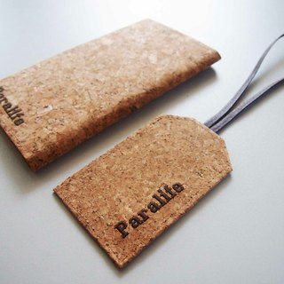 Paralife 2pcs Travel set Personalized Cork Long Passport Holder + luggage tag