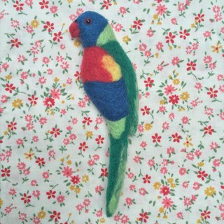 Rainbow honey parrot - hand made wool felt pins
