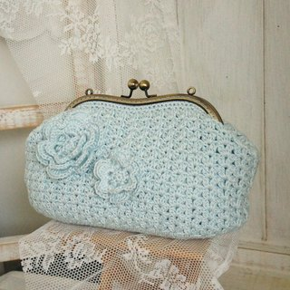 Woven three-dimensional flower export gold cosmetic bag / clutch / evening bags ~