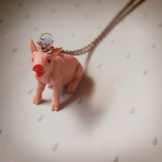 Fabulous Adventure - sheep pink pig necklace