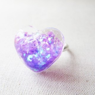 * Rosy Garden * violet sequined love water flow pattern snowflake glass ring